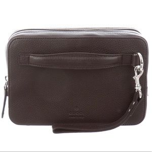 Gucci brown leather travel pouch (wristlet)